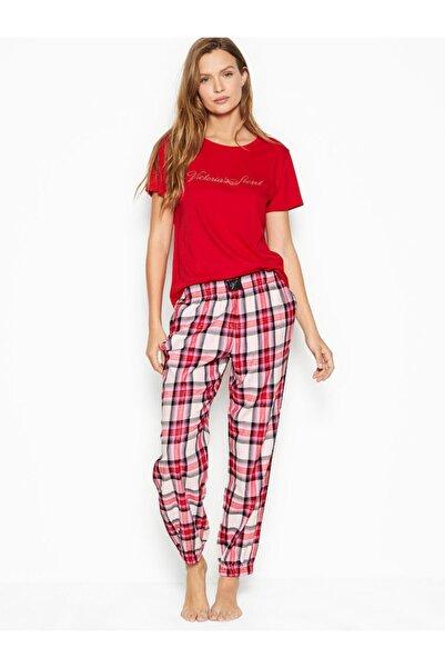 Victoria's Secret Kadın Kırmızı Pamuklu Flanel Uzun Lounge Pijama Takımı