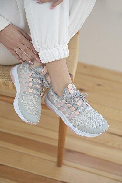 STRASWANS Kadın Gri Pudra Streç Triko Spor Ayakkabı