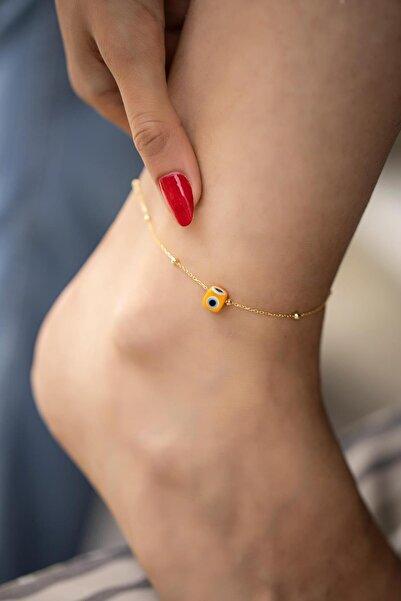İzla Design Turuncu Nazarlık Model Altın Kaplama Toplu Zincir Gümüş Halhal