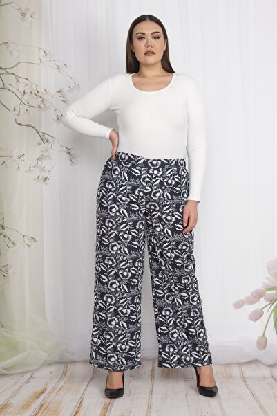 Şans Kadın Siyah Bel Kısmı Lastikli Desenli Pantolon 65N22344