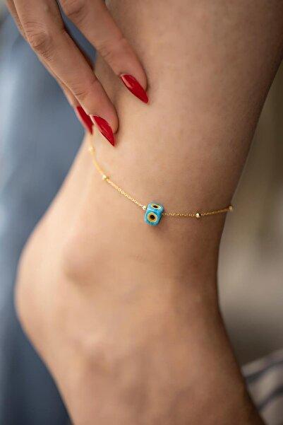 İzla Design Mavi Nazarlık Model Altın Kaplama Toplu Zincir Gümüş Halhal