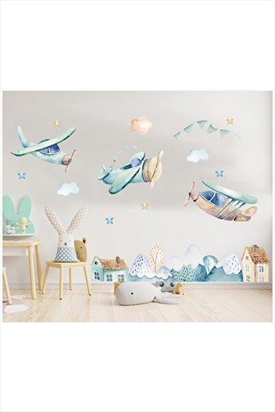 Oracal Mavi Uçaklar Çocuk Odası Duvar Sticker