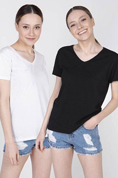 Addax Ikili V Yaka Basic T-shirt P0372 - U9u10