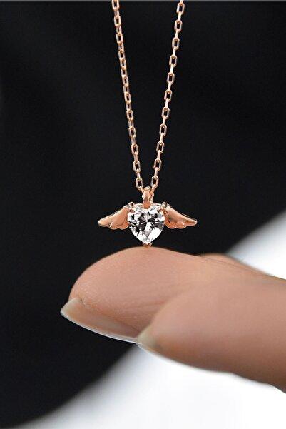 Papatya Silver 925 Ayar Gümüş Rose Kaplama Beyaz Taşlı Kalp Kanat Kolye