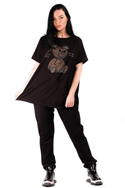 WAWA Kadın Siyah Taşlı Büyük Beden T-shirt