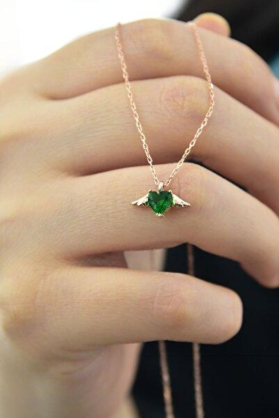 Papatya Silver 925 Ayar Gümüş Rose Kaplama Yeşil Taşlı Kalp Kanat Kolye