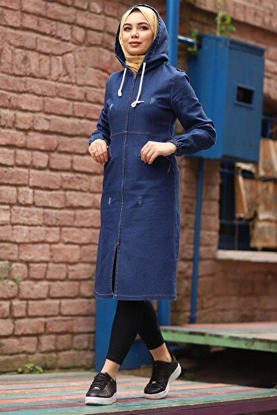 InStyle Kapüşonlu Eskitme Mavi Kot Ceket