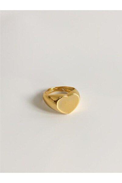 The Y Jewelry Kadın Altın Kalpli Plaka Yüzük
