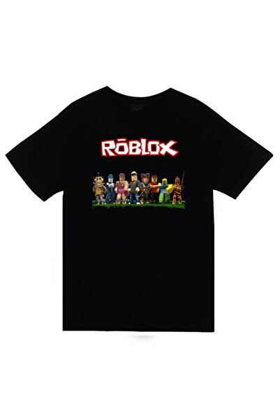 fame-stoned Unisex Siyah Roblox Baskılı T-shirt