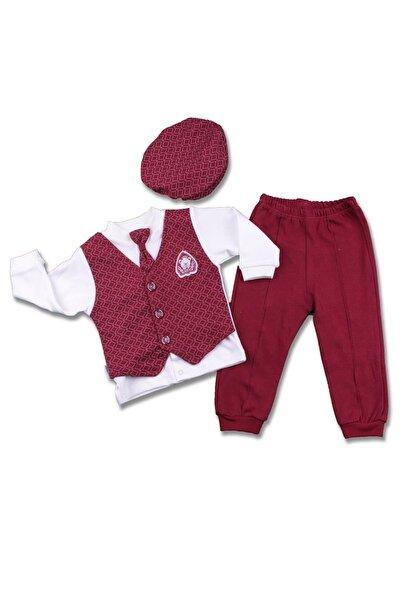 Miniworld Erkek Bebek Bordo Sahte Kravatlı 3'lü Takım