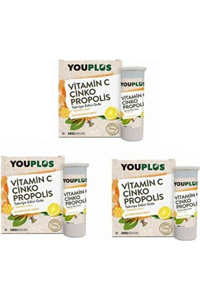 Youplus 3 Adet Youplus Vitamin C, Çinko, Propolis Efervesan Tablet Takviye Edici Gıda