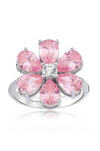 Valori Jewels 4 Karat Zirkon Pembe Damla Taşlı, Unutma Beni Çiçek Gümüş Yüzük