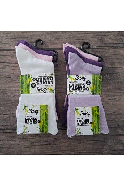 SOCKSHION 6'lı Paket Bayan Bambu Lastiksiz Dikişsiz Ultra Comfort Renkli Diyabetik Şeker Çorabı
