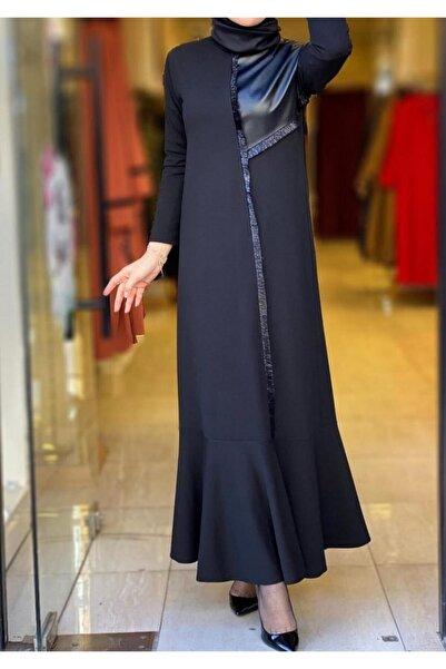 emsale Deri Detaylı Elbise