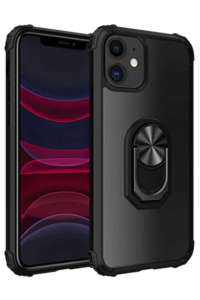 Apple Iphone 11 Kılıf Yüzüklü Standlı Zırh Silikon Şeffaf
