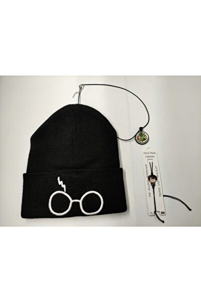 ema Harry Potter Gözlük Baskılı Bere Kolye Bileklik Seti