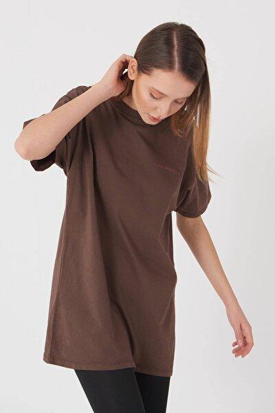 Addax Kadın Kahverengi Yazı Detaylı Tişört P9519 - K8 ADX-0000023753