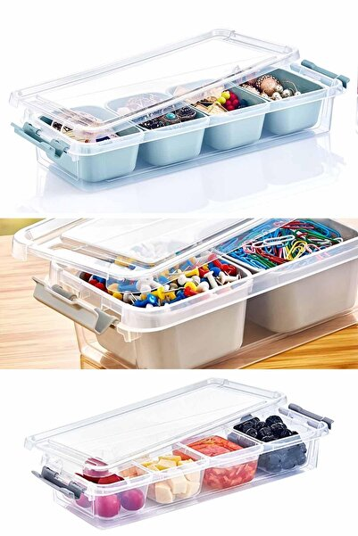 Helen's Home Maxi 4 Bölmeli Kapaklı Çok Amaçlı Saklama Kutusu Plastik Kahvaltılık Saklama Kabı Organizer 2,5lt