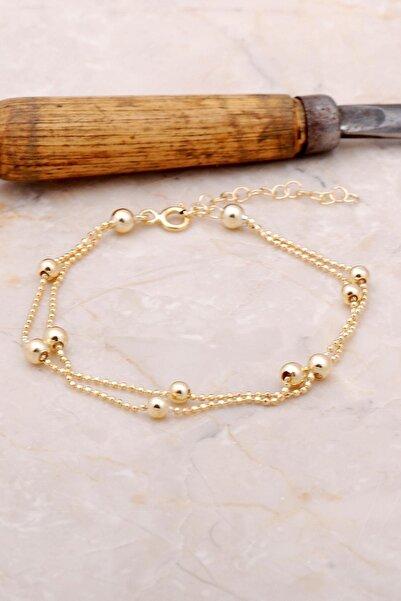 Sümer Telkari Kadın Altın Dorica İki Sıralı Yaldızlı Gümüş Bileklik 3385