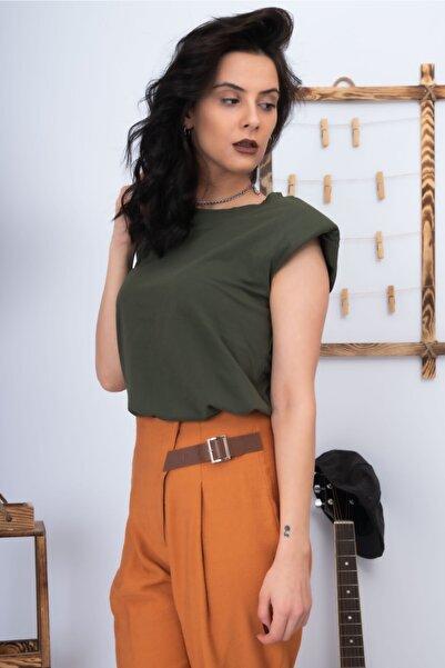 Lefon Kadın Yeşil Vatkalı Basic T-shirt