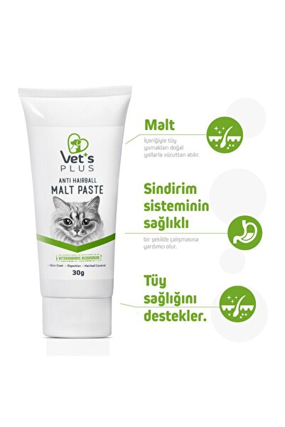 Vet's Plus Anti Hairball Sağlıklı Tüyler Için Malt Kedi Macunu 30gr