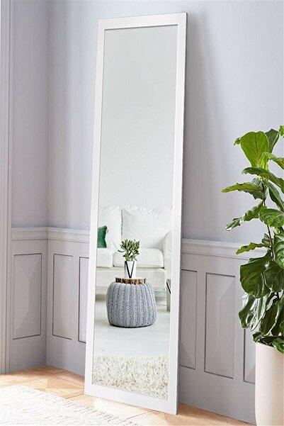 Hüma's Beyaz Ahşap Dekoratif Retro Boy ve Duvar Aynası 160 X 58 cm