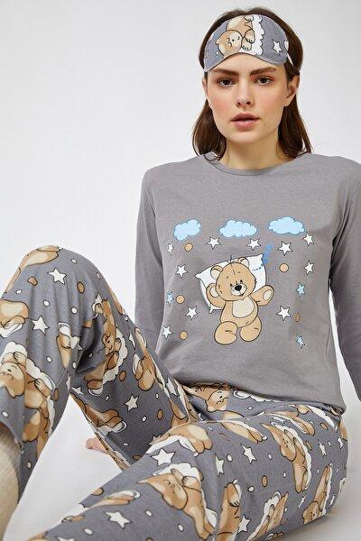 Happiness İst. Kadın Taş Grisi Uyku Bantlı Baskılı Pijama Takımı EC00026