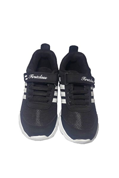 First Class Unisex Çocuk Siyah Bağcık Modelli Cırtlı Hava Tabanlı Spor Ayakkabı