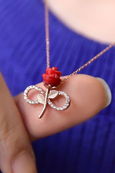 Papatya Silver 925 Ayar Gümüş Rose Kaplama Kırmızı Sonsuzluk Gül Kolye