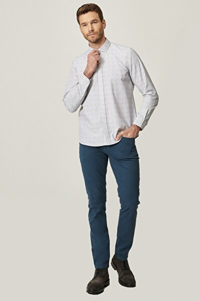 AC&Co / Altınyıldız Classics Erkek Petrol Kanvas Slim Fit Dar Kesim 5 Cep Pantolon