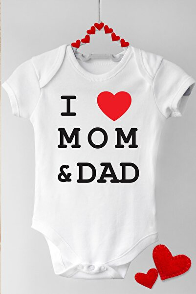 Happy Onesie Co Anne Babamı Seviyorum Kısa Kol Çıtçıtlı Bebek Body