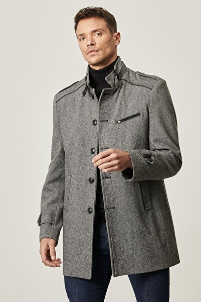 ALTINYILDIZ CLASSICS Erkek ACIK ANTRASIT Ekstra Slim Fit Dik Yaka Klasik Kışlık Kaban