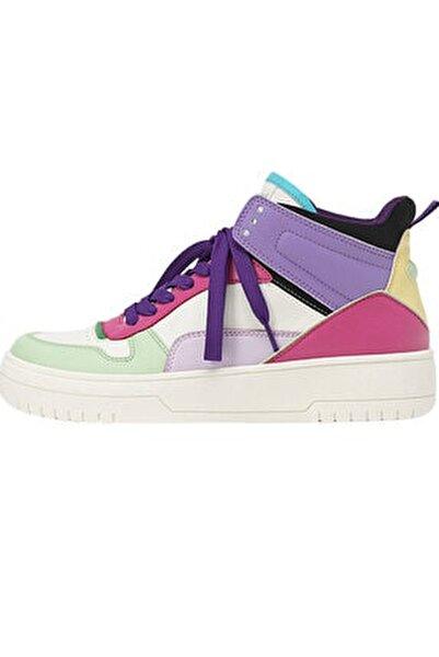 Kadın Çok Renkli Dekoratif Parçalı Yüksek Bilekli Spor Ayakkabı 19012770