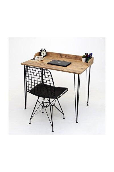 Mars Mobilya Linda Çam Çalışma Masası ve Tel Sandalye Takımı
