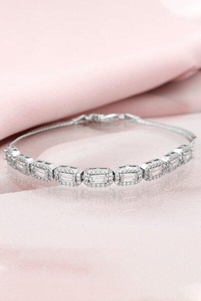 Else Silver Baget Taşlı Ezme Zincirli Gümüş Bileklik