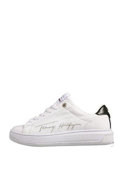 Tommy Hilfiger Kadın Beyaz Sneaker Sıgnature Tommy Deri Cupsole FW0FW05219