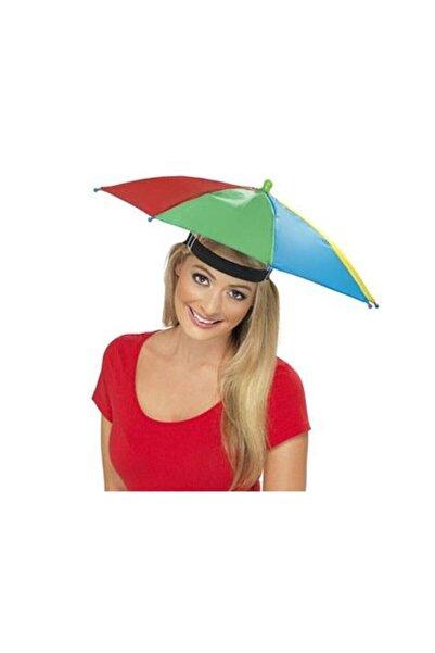 Biomak Şemsiye Lastikli Plaj Yazlık Kafa Şemsiyesi Güneşten Korunmak Için Şapka Şemsiye Güneş Koruyucu