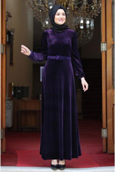 Hüma Buğlem Kadın Mor Kadife Tesettür Abiye Elbise