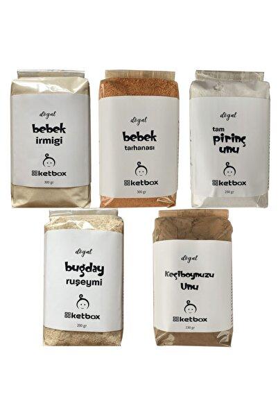 ketbox Bebek Gıda Seti Doğal Bebek Irmiği, Bebek Tarhanası, Tam Pirinç Unu, Buğday Ruşeymi, Keçiboynuzu Unu