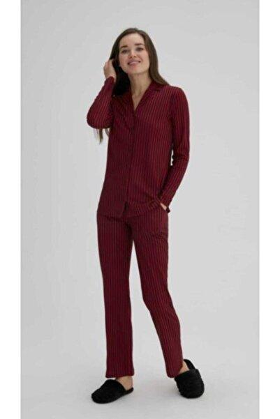 Eros Pijama Eros Esk27690 Kadın Çizgili Gömlek Pijama Takımı