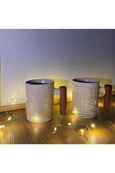FESTİVAL Ahşap Kulplu Porselen Kupa Bardağı 2'li