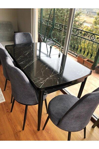 Canisa Concept Via Serisi Açılabilir Mutfak Masası Takımı-yemek Masası Takımı-siyah Masa+4 Adet Füme Sandalye