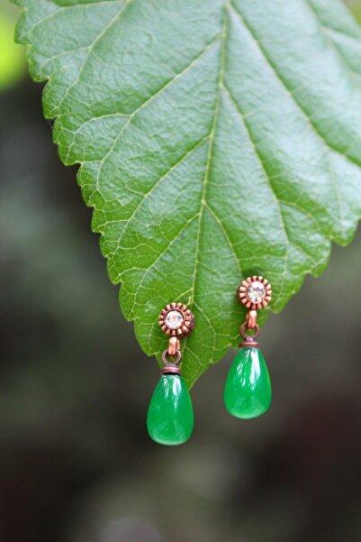 Stoneage Yeşil Minik Damla Bayan Küpe