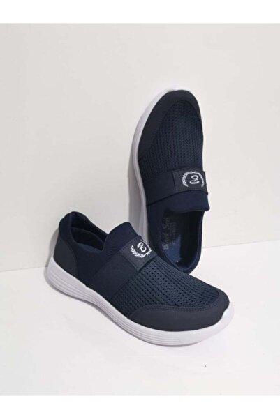 GEZER Ortopedik Aqua Lastikli Günlük Kadın Spor Ayakkabı Sneaker Fileli Lacivert 107