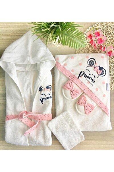 Miniworld Pembe Prenses Bornoz Havlu Takım