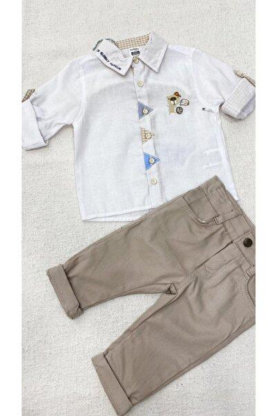 BUBBLY BABY Bubbly Erkek Bebek Beyaz Gömlek Krem Dar Paça Pantolon
