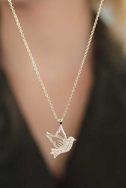 Accessories Kuş Figür Zirkon Taşlı Kolye