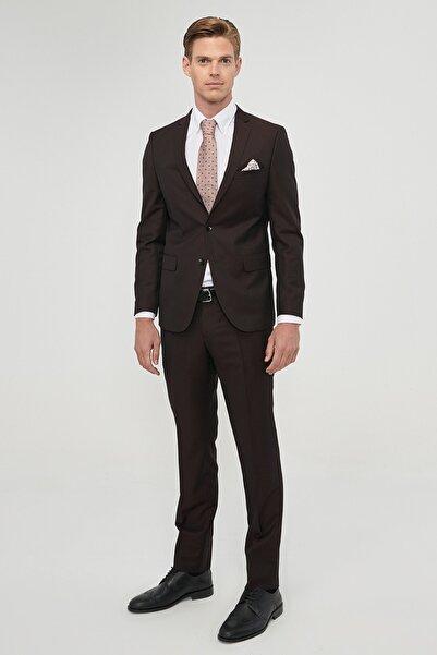 ALTINYILDIZ CLASSICS Erkek Bordo Slim Fit Desenli Nano Takım Elbise