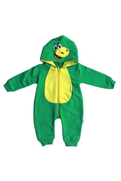 bebegen Dinozor Baskılı Kapüşonlu Fermuarlı Yeşil Sarı Bebek Tulum