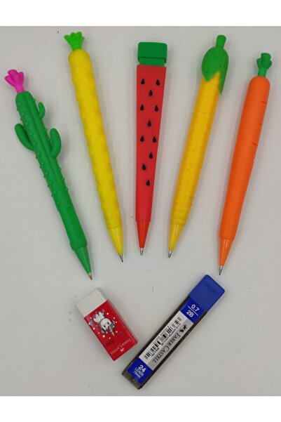 Kuki Eğlenceli Versatil Kalemler 5 Adet. + Faber Castell Silgi + 0,7mm Uç